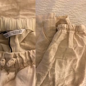 Zara Pants - NWOT ZARA Linen 🍃 Drawstring Pants 🍃 Cream Small